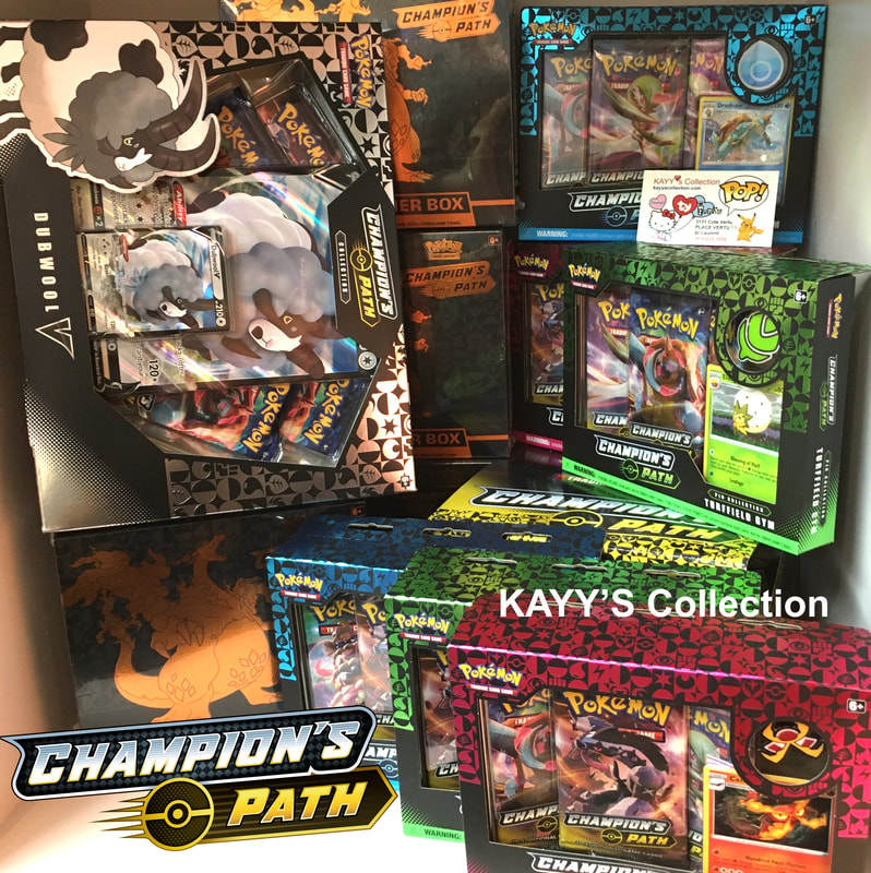 Rare Pokemon CHAMPION'S PATH TCG Collection - Elite Trainer Box, Champion's Path Collector Pin Box, Champion's Path Dubwool V Box, all available at KAYY'S Collection West Island, St Laurent, Montreal