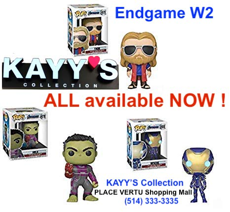 Funko pop Marvel ENDGAME W1 and W2 available at KAYY'S Collection Montreal