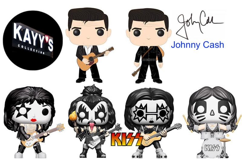 Funko pop music rocks Johnny Cash & KISS available at KAYY'S Collection Montreal
