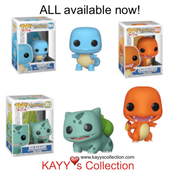 Funko Pop! NEW Arrival Pokemon Squirtle. in-stock again for Charmander & Bulbasaur. Available at Kayy's Collection, St Laurent, Montreal